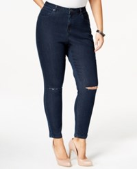 Harper And Liv Plus Size High Waist Ripped Skinny Jeans Dark Rinse