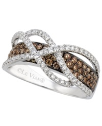 Le Vian Chocolate And White Diamond Crossover Ring In 14K White Gold 1 1 10 Ct. T.W.