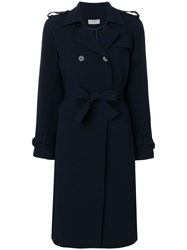 Alberto Biani Belted Trench Coat Blue
