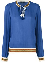 Roberto Collina Drawstring Detail Blouse Blue