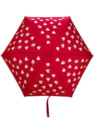 Moschino Heart Pattern Umbrella Red