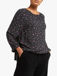 John Lewis Collection Weekend By Keyhole Smock Detail Heart Print Blouse Black