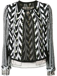 Giambattista Valli Embellished Jacket Women Silk 42 Black
