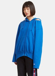 Vetements Champion Cut Out Shoulder Zip Up Hooded Sweater Blue