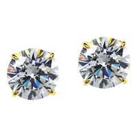 Carat London 9Ct Gold Round Stud Earrings Gold Clear
