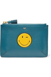 Anya Hindmarch Smiley Loose Pocket Small Textured Leather Pouch