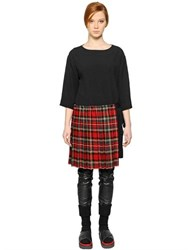 I'm Isola Marras Viscose Crepe Dress W Plaid Wool Skirt