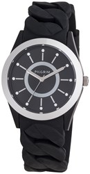 Pilgrim Silver Plated Black Silicon Watch Black