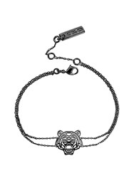 Kenzo Ruthenium Plated Sterling Silver Cut Out Tiger Bracelet Graphite