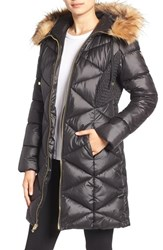 Guess Women's Quilted Puffer Coat With Faux Fur Trim Black