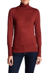 Susina Long Sleeve High Rib Cuff Turtleneck Petite Red