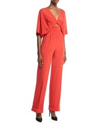 Johanna Ortiz Red Canna Cape Like Keyhole High Waist Silk Crepe Jumpsuit