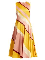 Roksanda Ilincic Seersucker Silk Striped Dress Yellow Multi