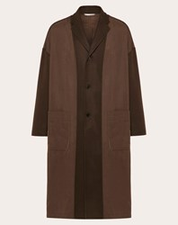 Valentino Uomo Coat In Double Layer Wool Man Brown Polyester 100