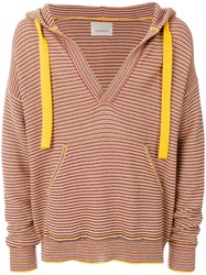 Laneus Striped Hooded Jumper Red