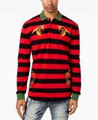 Reason Men's Bee Embroidered Rugby Stripe Polo Black Red
