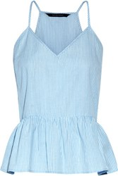 W118 By Walter Baker Murphy Striped Cotton Broadcloth Peplum Top Sky Blue