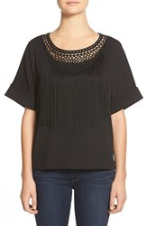 Women's Bobeau Fringe Detail Short Sleeve Top