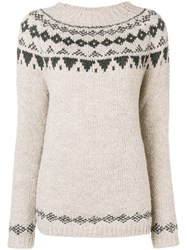 Woolrich Geometric Knit Sweater Nude And Neutrals
