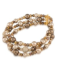 Carolee Beaded Three Row Stretch Bracelet Brown Gold