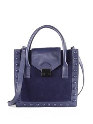 Loeffler Randall Jr Studded Leather And Suede Work Tote Eclipse