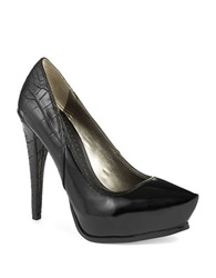 Sam Edelman Jaelyn Crocodile Platform Stilettos Black