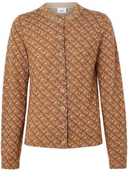 Burberry Monogram Print Merino Wool Cardigan Brown