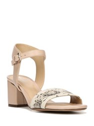 Naturalizer Caitlyn Snake Print Leather Block Sandals Taupe