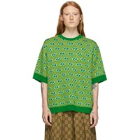 Gucci Green And Yellow Jacquard Stripe Gg Short Sleeve Sweater