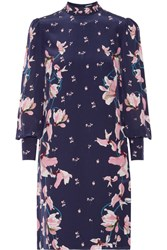 Erdem Mirela Floral Print Silk Crepe De Chine Dress Navy