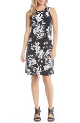 Karen Kane Floral Print Knit Dress Black Off White