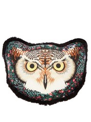 Gucci Owl Embroidered Satin Cushion Black Multi