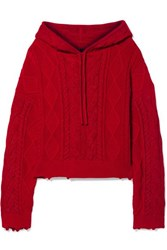 Rta Marvin Hooded Cable Knit Cotton Sweater Red