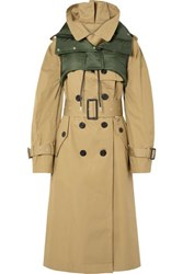 Sacai Ripstop Trimmed Cotton Gabardine Trench Coat Beige
