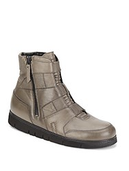 Helmut Lang Leather High Top Sneakers Olive