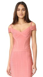 Herve Leger Lenore V Neck Top Pale Coral