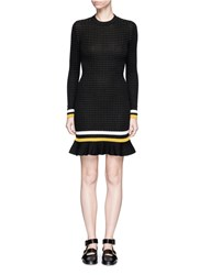 3.1 Phillip Lim Stripe Hem Smocked Pima Cotton Sweater Dress Black
