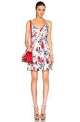 Thakoon Open Front Dress In White Blue Red Floral