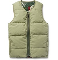 Visvim Reversible Quilted Cotton Blend Flannel Down Gilet Green