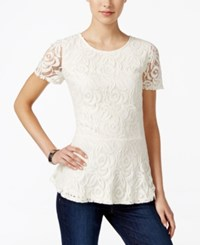 Charter Club Petite Lace Peplum Top Only At Macy's Vintage Cream