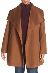 T Tahari Plus Size Women's 'Ella' Wrap Coat Vicuna