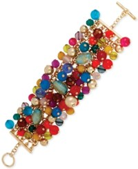 Macy's Haskell Gold Tone Multi Colored Shaky Bead Toggle Bracelet