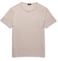 Theory Gaskell Slub Linen And Cotton Blend Jersey T Shirt Beige