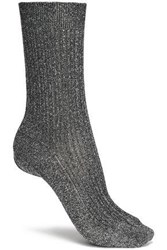 Missoni Metallic Ribbed Knit Socks Metallic