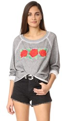 Wildfox Couture Three Rose Embroidered Sweatshirt Heather Grey