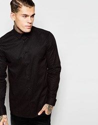 Asos Shirt With Long Sleeve And Polka Dot Print Black