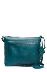 Frye Carson Leather Crossbody Bag Blue Green Peacock