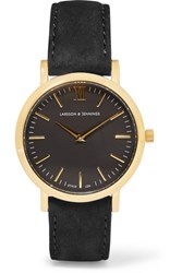 Larsson And Jennings Lugano Suede Gold Plated Watch Black