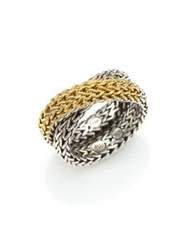John Hardy Classic Chain 18K Yellow Gold And Sterling Silver Ring Silver Gold