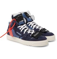 Off White 3.0 Court Suede Leather And Canvas High Top Sneakers Blue